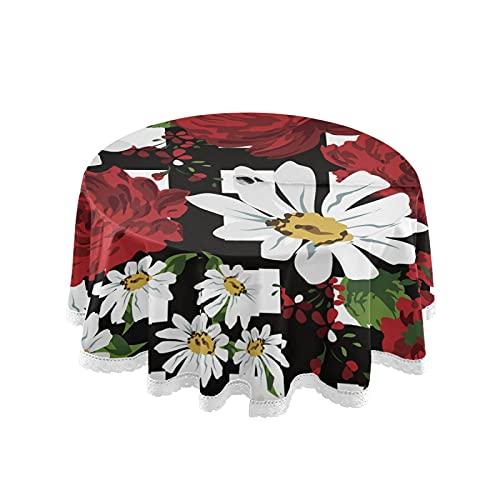 JUMBEAR Hermoso mantel redondo de poliéster con diseño de peonía de crisantemo, color blanco y negro, resistente al agua, a prueba de derrames, gran mesa para comedor, cocina, fiesta, 60 pulgadas