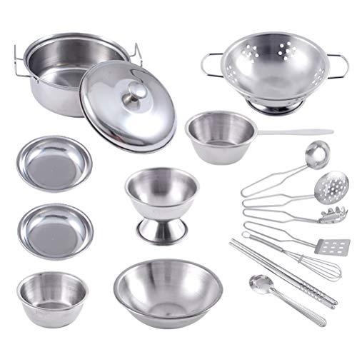 Juguetes de cocina para niños Juego de utensilios de cocina Juego de 16 piezas de sartén de acero inoxidable Juguetes de simulación Juego de roles Accesorios de cocina para niños, niñas y niños