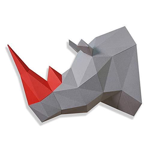 WLL-DP Rhino Head 3D Büttenpapier Bastelpapier Skulptur Vorgeschnittenes Papier Spielzeug DIY Origami Puzzle Papier Modell Geometrische Wanddekoration
