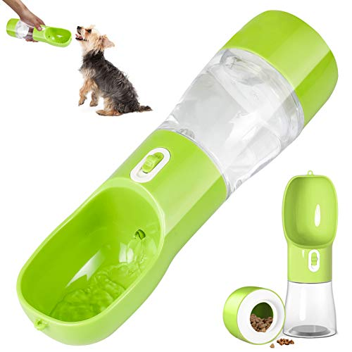 iiDesign Dog Treats and Water Bottle, Portable Pets Drinking Feeding Bottle for Walking and Hiking, Dog Outdoor Travel Water and Food Bottle (Green)