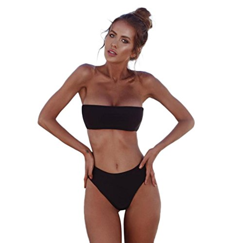 Damen Bikini Set FORH Frauen Top Sexy Bandeau Push-Up BH Bademode Beachwear + Strandmode Hohe Taille Tanga T-String Bikinihose Sommer Strand Badeanzug Badebekleidung (Schwarz, S)