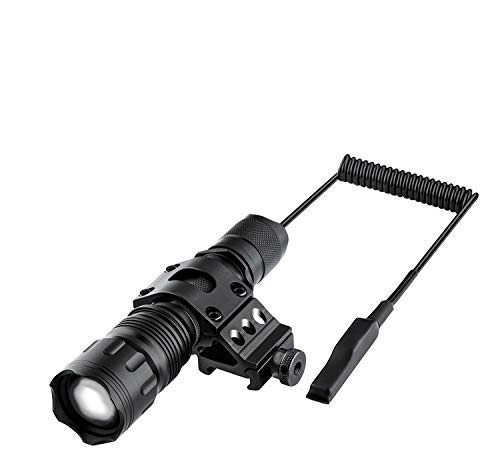 Megwoll Tactical Flashlight 1200 Lumens Zoomable Super Bright 5 Modes LED Light with Offset Picatinny Rail Mount and Rechargeable Battery & Remote Pressure Switch for Outdoor Hunting Hiking