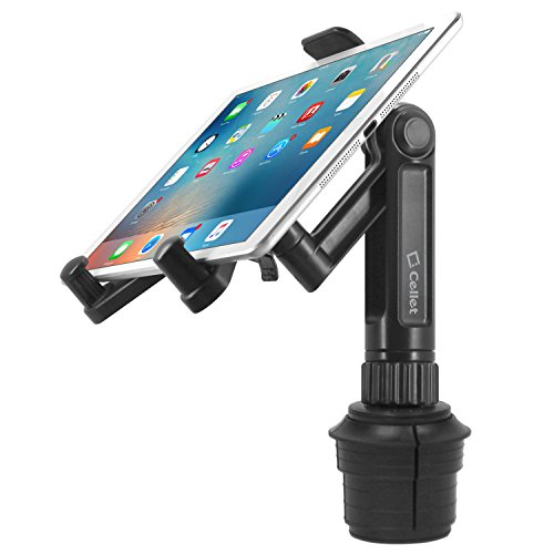 Cellet 360 Adjustable Cup Holder Tablet Automobile Mount Cradle Compatible with Apple IPad Pro 12.9, Air 2019 IPad Mini 4, Samsung Galaxy Tab S6 S4 S5e A 8.0 10.1 Surface Go Pro 6 Fire HD 10
