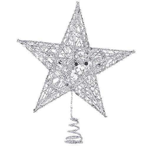 BESTOYARD Estrella de Árbol de Navidad de Cinco Puntas de Hueco Copo de Nieve para Árbol de Navidad Decoración Árbol de Navidad (Plata) 30 cm