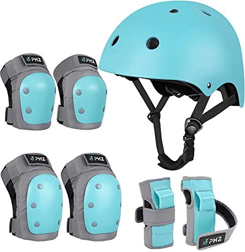 PHZ Schoner Set Knieschoner Inliner Kinder Jugendliche mit Verstellbaren Helm Protektoren Skateboard Helm Set Fahrrad Schützer Sport Schutzausrüstung (Blau, M (8-14 Jahre alt))