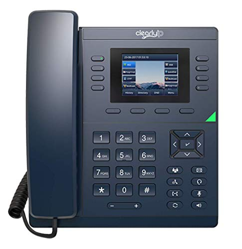 ClearlyIP 250 VoIP Phone with POE (or AC Adapter Sold Separately), 8 SIP (Phone Lines) Support, 28 Soft Keys with 2.8 Inch LCD Color Display
