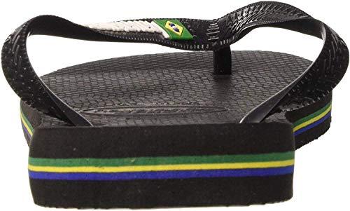 Havaianas Brasil Logo, Unisex-Erwachsene Zehentrenner, Schwarz (Black/Black), 43/44 EU