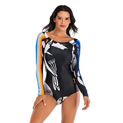 QIMANZI Damen Schwimmshirt Langarm UPF 50+ Athletic Swim Shirt Farbblock Druck Tankini Sets Badeanzug Badeshirt (M Schwarz,XXL)