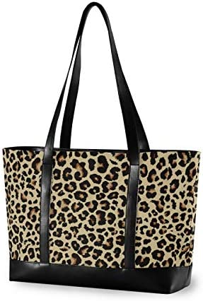 Cheetah Leopard Laptop Tote Bag Fits 15 6 Inch Laptop Womens Lightweight Canvas Leather Tote product image