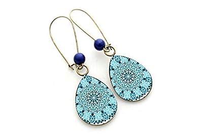 Boucles d'oreilles gouttes bleues, Néo Baroque élégantes, bleu femme, cadeau noel