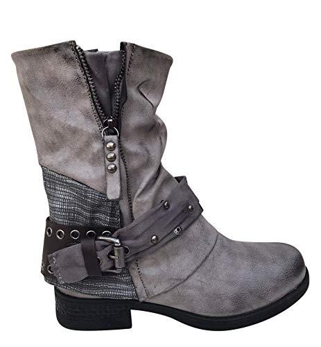 Damen Stiefeletten Boots Stiefel Nieten Biker ST04 (Grau, 38)