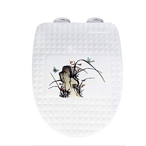 Tapa de inodoro 3D Tapa de asiento de inodoro de resina de cierre lento, tapa de inodoro de alta resistencia para tipo U / V, fácil de limpiar, cierre lento, con bisagra de metal