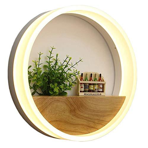 ZHCSYL - Aplique de tipo candelabro LED de pared acrílica, lámpara redonda Nordic de escritorio, salón, dormitorio, pasillo, águila, lámpara de mesita única de madera, arte de pared