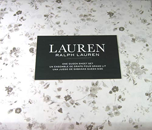 Lauren Queen Size Floral Print Sheet Set Gray and White Cotton