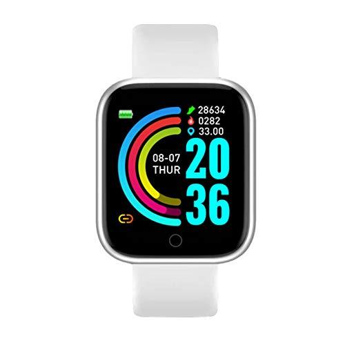 YNLRY Reloj inteligente para hombre, impermeable, Bluetooth, monitor de ritmo cardíaco, monitor de presión arterial, para iOS Android (color blanco, tamaño: caja de plástico)