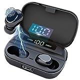 Auricolari Bluetooth 5.0 Auriculares Inalámbricos HD Micrófono Estéreo In-Ear Auriculares Deportivo con Caja de Carga Portátil y Micrófono Integrado Compatible con iOS y Android 3500mAh