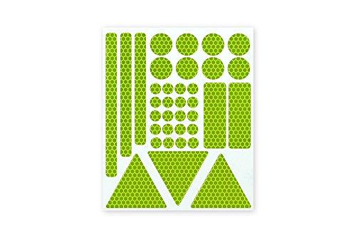 Hoch reflektierende Sticker Leucht-Aufkleber 36 Teile selbstklebende Reflektoren Reflexfolie Set zur Sicherheits-Markierung von Kinderwagen, Fahrrad, Schulranzen, Gehhilfen, Helme in fluor-lime