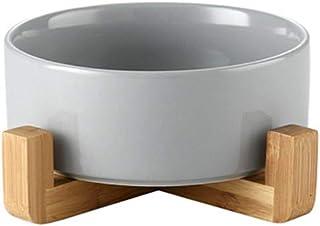Hutoco グレー ボウル フードボウル 犬 猫食 器 陶器 650MLウォーター ボウル 犬猫用 餌入れ 水入れ 水飲みボウル 木製 ペット皿 滑り止め 安定感 取り外し可能 手入れ簡単 ペット用品 13 cm
