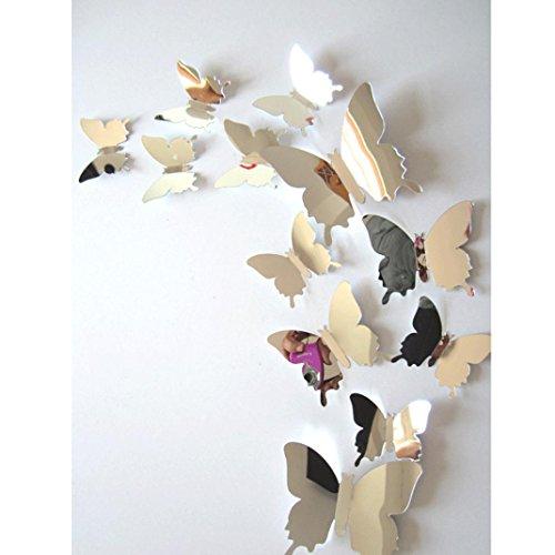 Wall Stickers Brillanti farfalle 3D,NINGSUN Adesivi murali decalcomania Farfalle 3D Mirror Wall Decori di casa d\'arte,decorazione casa stickers murali (Un set, Argento)