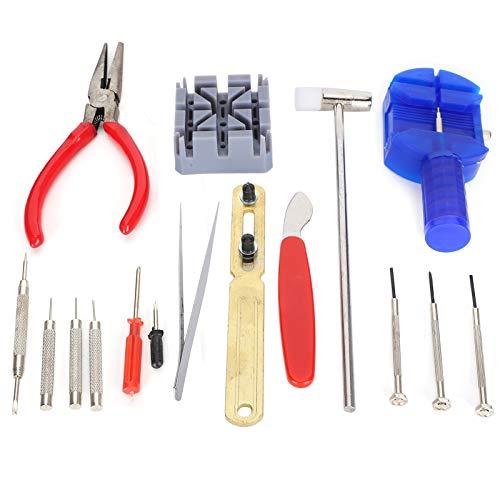 Herramienta de reparación de relojes de 16 piezas, kit de reparación de relojes de autoayuda, para cambiar la correa del reloj y reemplazar la batería