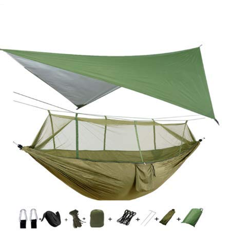 xuanyu Camping/Hamaca de jardín con mosquitera Muebles de Exterior 1-2 Personas Cama Colgante portátil Resistencia Tela de paracaídas Columpio para Dormir, Hamaca y Lona