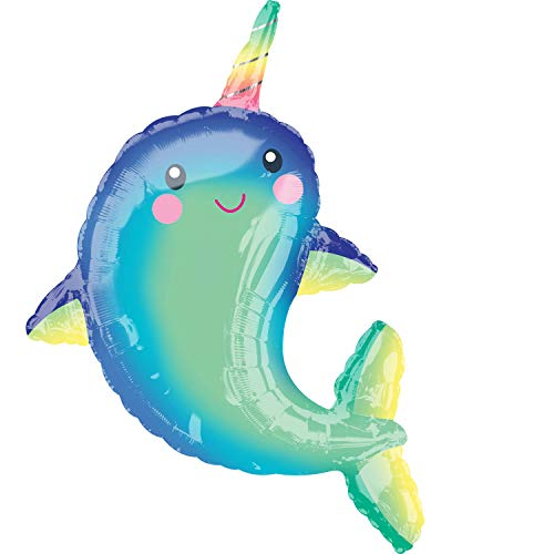 Mayflower Products 39' Anagram Happy Narwhal Foil Balloon, Multicolor