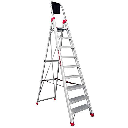 Faraone - Escalera de Aluminio - Escalera de Tijera DOMUS09 - 277 x 63 x 15 cm - Escalera 9 Peldaños - Máxima Seguridad - Fácil Transporte - Peldaños Anchos y Cómodos