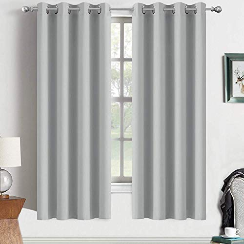 Yakamok Blackout Curtains Room Darkening Thermal Insulated Grommet top Window Curtains for Living Room, 52 x 72 Inch, Light Grey, Set of 2