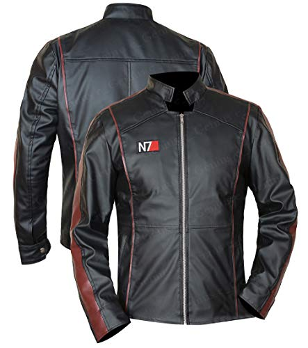 N-7 Mass Effect 3 Street Fighter Commander Shepard Gaming Veste en cuir noir pour homme - Noir - Medium