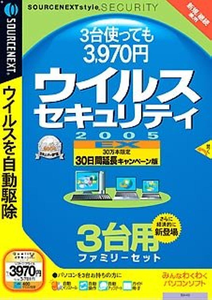一時的限られたルーウイルスセキュリティ 2005 EX 30日間延長キャンペーン版 3台用ファミリーセット (説明扉付きスリムパッケージ版)(旧版)