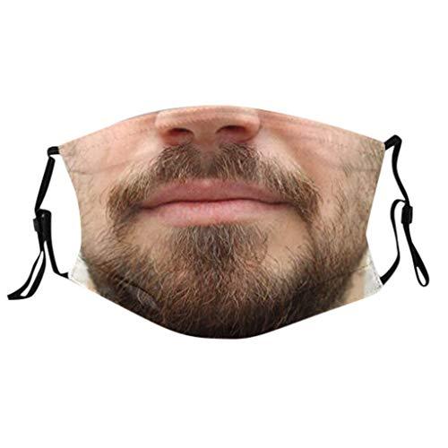 Lomelomme Lustig Mundschutz Bandanas Waschbar 3D Motiv Staubdicht Mund und Nasenschutz Gesichtsabdeckung Wiederverwendbare Atmungsaktiv Face Cover (C-C, One size)