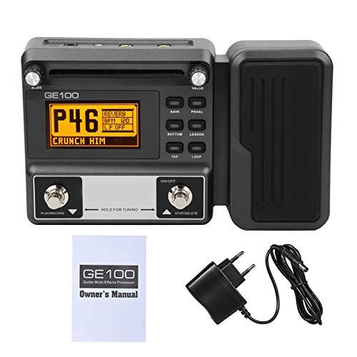 Pedal multiefectos para guitarra, pedal de efectos de 100‑240 V con grabación en bucle de 180 segundos Pantalla LCD Accesorio para instrumentos musicales(Enchufe de la UE)