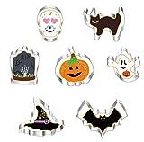 7 Piezas Molde de Galletas de Halloween,Juego de Cortadores de Galletas de Halloween,Molde de Acero Inoxidable para Galletas,Cookie Cutter Halloween para Pastel,Cookie,Fondant