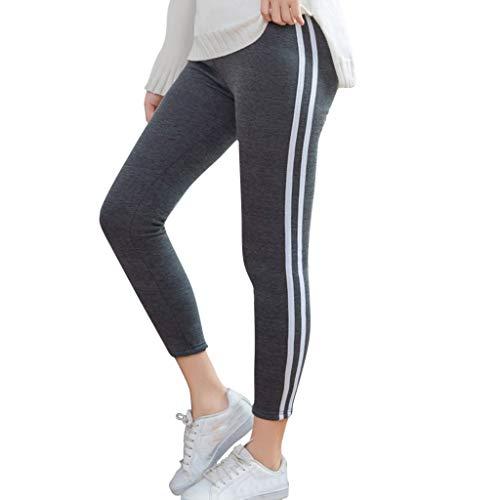 TOPGKD Damen Sport Leggings Yogahose Fitnesshose Leggings Streifen Gedruckt Elastisch Schlank Hohe Taille Hip-Up Yoga Fitness Schlauch Sporthose Hose Hose Sweathose Yoga Strumpfhose (Dunkelgrau, XL)