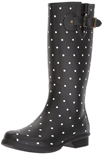 Chooka Women's Tall Memory Foam Rain Boot, Dot Blanc Black, 5 M US