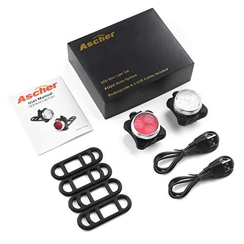 41PDQmeMqZL Ascher USB Rechargeable Bike Light
