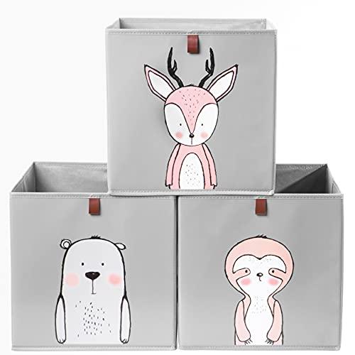 2friends 3 Kinder Aufbewahrungsboxen mit Schlaufe zum Herausziehen, 3er Set mit 3 Motiven, 33x33x33 cm, ideal für Kallax-Regale, stabil und abwaschbar, grau