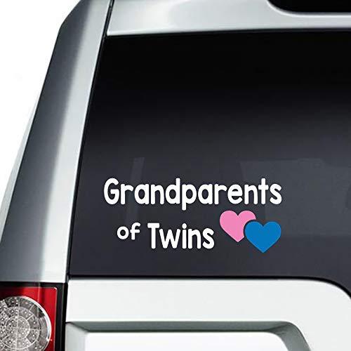 Grootouders van Tweelingen auto Sticker, Vinyl Car Decal, Decor voor raam, Bumper, Laptop, Muren, Computer, Thmbler, Mok, Beker, Telefoon, Vrachtwagen, Auto Accessoires