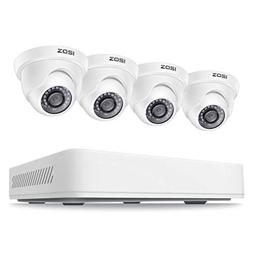 ZOSI 2K 5MP Super HD Außen Videoüberwachung System 8CH H.265+ HDMI DVR Recorder mit 4 2560x1920P Dome Überwachungskamera Set ohne Festplatte