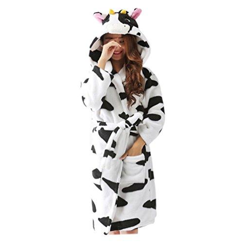 Lpin Unisexo Mujeres Fleece Animal Encapuchado Bata de Bao Dressing Gown Ropa de Dormir Disfraz Vaca lechera Small
