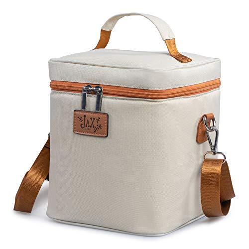 Jax 2020 Breastmilk Cooler Bag - Insulated Container for 6 Large Bottles or Storage Bags - Leak-Proof Caddy Keeps Milk or Formula Cold - Adjustable Shoulder Strap, Top Handle, Mesh Pocket for Ice Pack