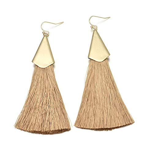 PULABO Bohemia Triangle Tassels Fringed Drop Earrings for Women Long Mustard Dangle Earrings Jewelry Yellow SuperiorQuality and Creative Practical, Excellent Quality