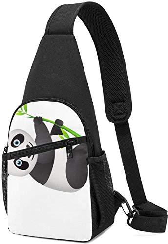 Nigel Tomm Sling Bag Cute Panda Climb Bamboo Impreso Hombro Mochila Crossbody Monedero Viaje Senderismo Bolsa de Pecho Mochila