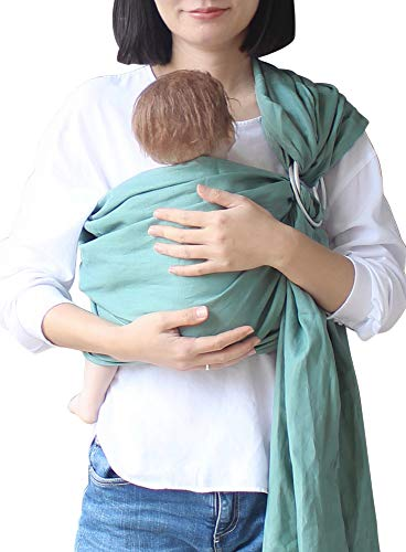 Vlokup Baby Ring Sling Baby Wrap Carrier - Extra Soft Linen Baby Sling for Newborn, Infant, Toddlers, and Kids - Lightweight Breathable - Best Shower Gift for Boys or Girls, Green