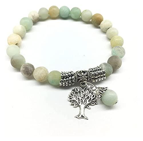 artizan Pulsera de Piedra para Mujeres, Perlas de Piedra Natural Pulsera Pulsera Elástica Silver Tree Bangle Chakra Joyería Boho Yoga Regalo para Novia mamá
