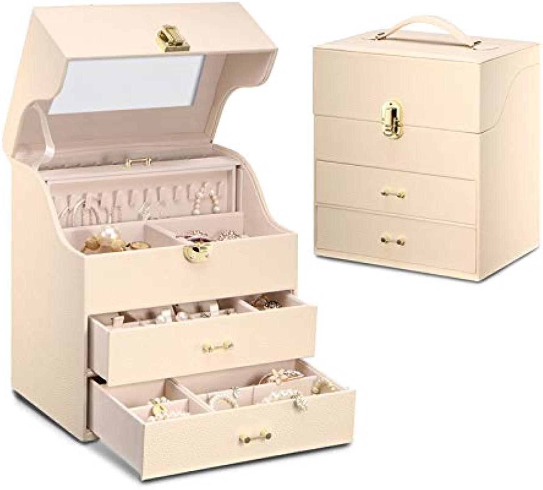 se descuenta Caja de joyas joyería de estilo europeo europeo europeo de almacenamiento de múltiples capas caja de reloj collar caja de joyas de gran capacidad cuadrado caja de joyería ( Color   blancoo , Talla   25.518.229.4cm )  ventas en línea de venta