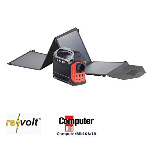 reVolt Solar Akku: Powerbank & Solar-Konverter mit faltbarem 50-Watt-Solarpanel, 42 Ah (Generator Powerbank)