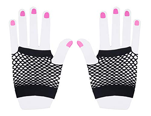Floranea 2 Pairs Fingerless Fishnet Gloves Women Black 80s Retro Vintage Nylon Stretchy Mesh Gloves for Kids Girls Dance Disco Costume Parties Supplies Accessories