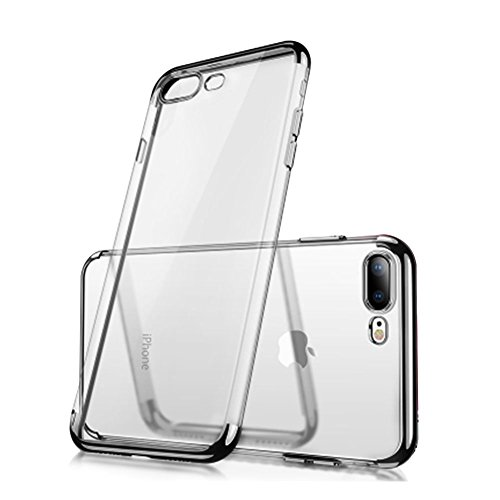 iPhone 7 Plus 8 Plus Clear View TPU Case with Screen Protector,Aearl Slim Fit Silicone Soft Cover Plating Electroplating Edge Shockproof Protective Frame Bumper for Apple iPhone 8 Plus 7 Plus-Black