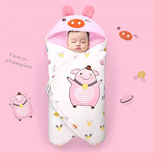 DEEYOTA ベビー寝袋 ベビーおくるみ 赤ちゃん布団 ベビーブランケット 100%綿 保温 ふあふあ 寝冷え防止 出産お祝い かわいい バスポンチョ ベビー寝袋 ピンク